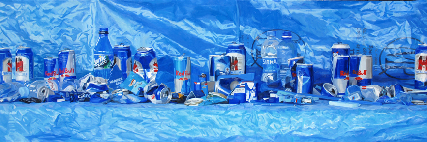 Pat Noser Blaue Fundstücke 2009  120 x 360cm Oel auf Leinwand