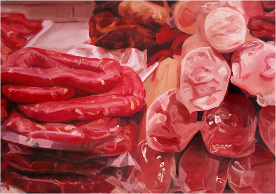 Pat Noser Wurstwaren Boqueron 2001 100 x 140 Oel auf Leinwand