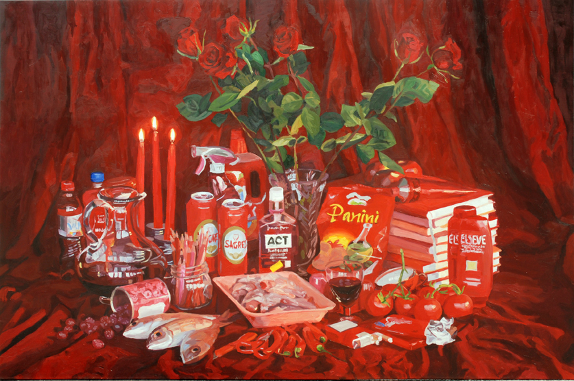 PatNoser-2007- Carrefour rot+-Oel-Leinwand-160x240cm-m