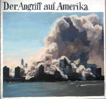 PatNoser Angriff auf Amerika 2001 49x51cm OelLeinwandm