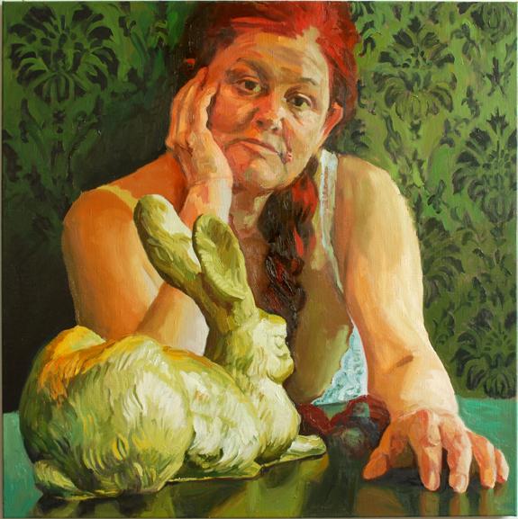 Pat Noser Der Goldene Hase erklärt mir die Kunst 2013 100 x 100 cm Oel auf Leinwand