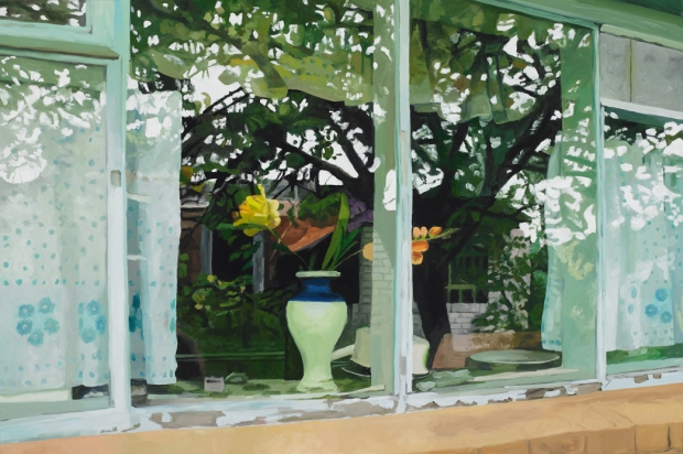 Pat Noser Fenster Hotel Nina 2010 120x180 Oel auf Leinwand Eröffnung der Ausstellung am 18. Juli 2014