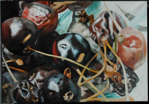 Pat Noser Kirschen 1998 70x100 cm Oel Leinwandm.jpg