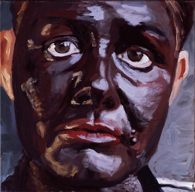Pat Noser Portrait of the Artist as Black2 2002 50x50cm Oel auf Leinwandm .jpg