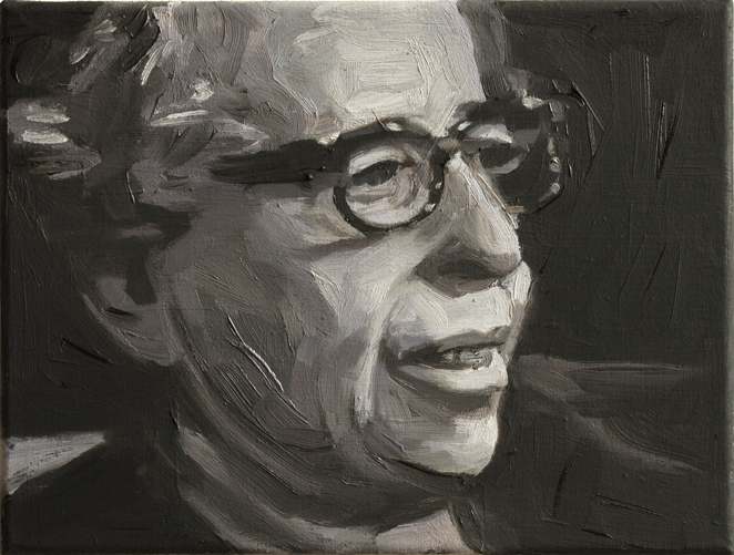 Pat Noser Hannah Arendt 2014 22 20 x 25 cm Oel auf Leinwandm