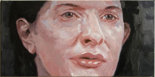 Pat Noser Marina Abramovic 2012 35 x 70 cm Oel auf Leinwandm
