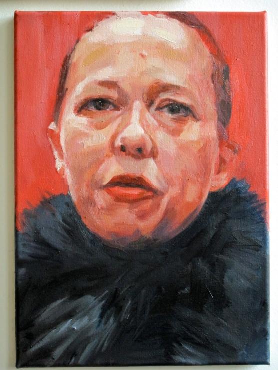 Pat Noser Jenny Saville Kuhazü 1 2014 35x25 cm Oel auf Leinwandm