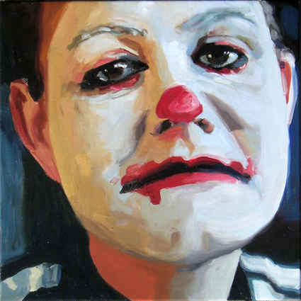 Pat Noser Portrait of the Artist al Clown 2003 50x50cm Oel-Leinwandm