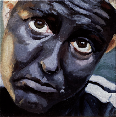 Pat Noser Portrait of the Artist as Black 2001 50x50cm Oel auf Leinwandm