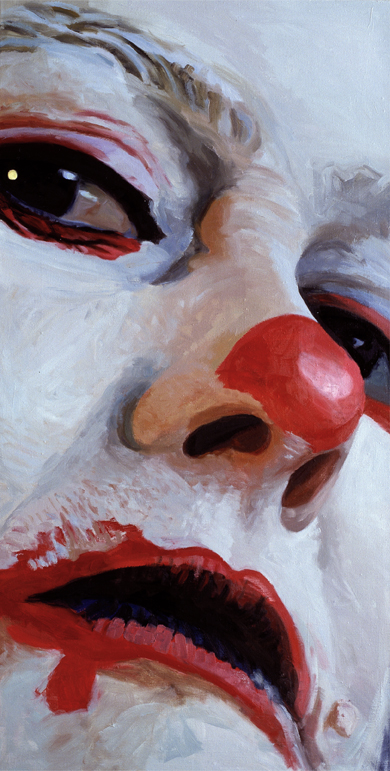 Pat Noser Portrait of the Artist as Clown 2001 140x70cm Oel auf Leinwandm