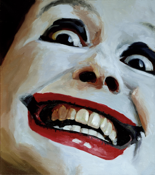 Pat Noser Portrait of the Artist as Clown 2001 80x70cm Oel auf Leinwandm