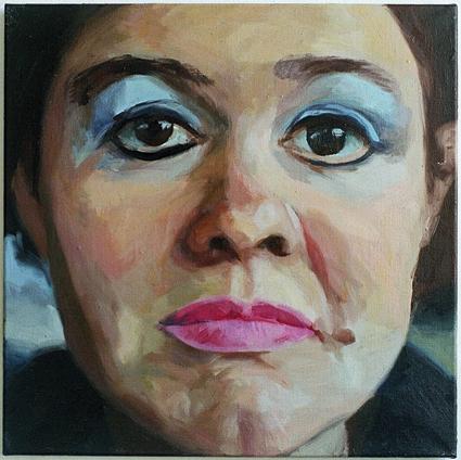 Pat Noser Portrait of the Artist as Woman 2001 50x50cm Oel auf Leinwandm