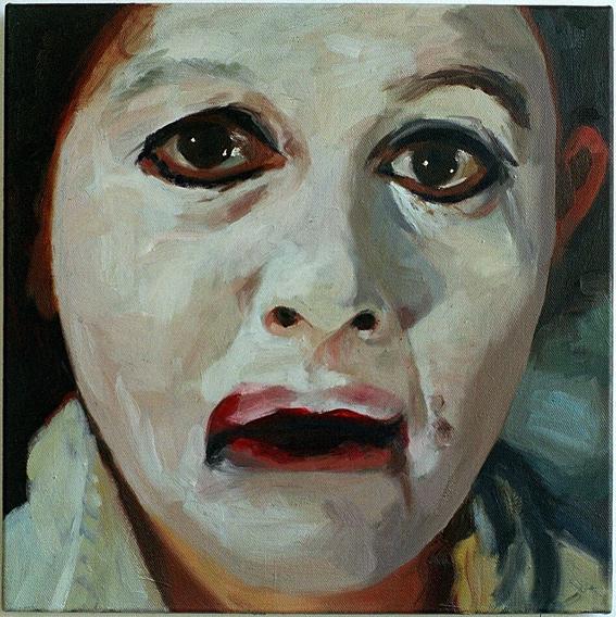 Pat Noser Portrait of the Artist as White 2002 50x50cm Oel auf Leinwandm
