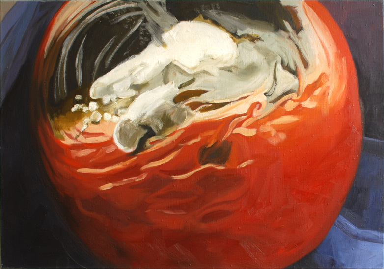 Pat Noser Tomate 1999 70x100 cm Oel auf Leinwand