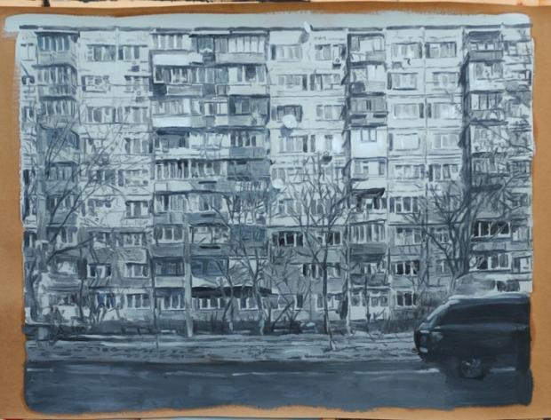 Pat Noser Alte Platte Kiew 2016 67x88cm Graphit Oel auf Papierm.jpg