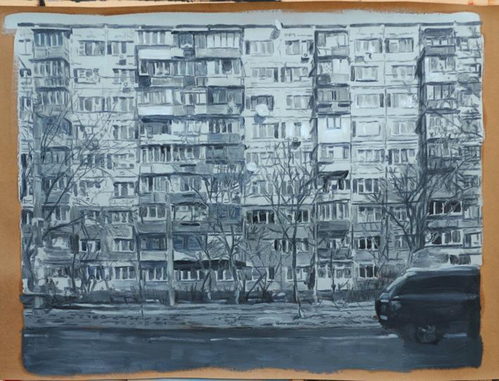 Pat Noser Alte Platte Kiew 2016 67x88cm Graphit Oel auf Papierm